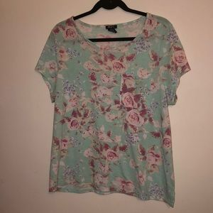 Sea blue Floral shirt with a pocket (plus size)